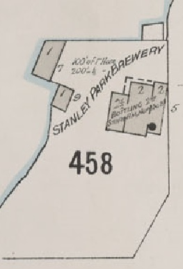 Stanley Park Brewery, detail from Insurance plan - City of Vancouver, July 1897, revised June 1901 - Sheet 43 - Coal Harbour to Comox Street and Bidwell Street to Stanley Park.