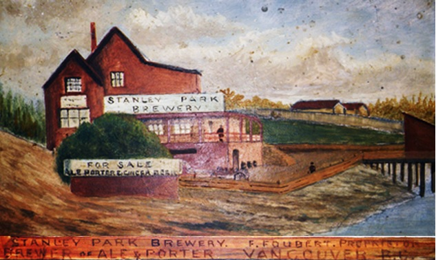 Stanley Park Brewery, F. Foubert, proprietor; brewer of ale & porter; Vancouver, B.C. Detail from Stanley Park entrance and Stanley Park Brewery. Painted in 1897. Artist anonymous. Reference code AM1562-: 72-574; http://www.vancouverarchives.ca/2013/05/stanley-park-brewery/