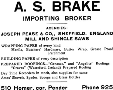 A.S. Brake - advertisement - Henderson's City of Vancouver and North Vancouver Directory, 1909, page 110