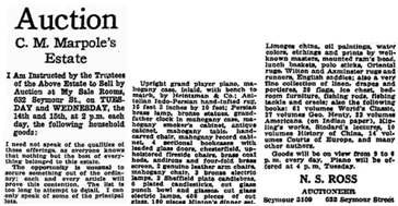 Auction - C M Marpole's Estate - Vancouver Sun - February 12 1922 - page 32; http://news.google.com/newspapers?id=millAAAAIBAJ&sjid=m4gNAAAAIBAJ&pg=1119%2C4450225