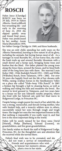 Helen Joyce [Claridge] Rosch - obituary - unknown publication - courtesy of Henry Orr.