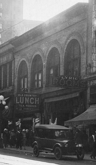 Old Country Tea Rooms, detail from Vancouver City Archives, Str P427 - [The west side of the 600 Block Granville Street looking south], 1921, http://searcharchives.vancouver.ca/west-side-of-600-block-granville-street-looking-south.