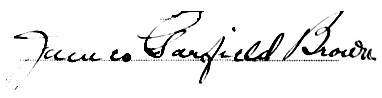 Signature of James Garfield Brown, witness to marriage of Garfield Howard Macrum and Athey Isabella Brown, Vancouver, August 7, 1916; https://familysearch.org/pal:/MM9.1.1/JDZL-C4S