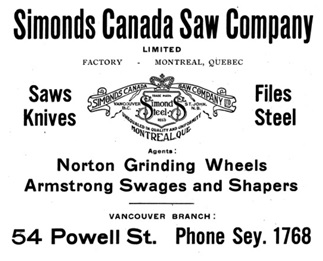 Simonds Canada Saw Company Ltd - Henderson's Greater Vancouver City Directory - 1916 - page 64