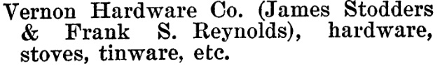 Vernon Hardware Company - Henderson's BC Gazetteer and Directory - 1900-1901 - page 643