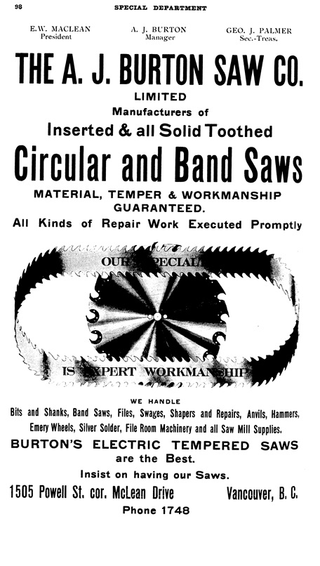 A J Burton Saw Co - Henderson's City of Vancouver Directory - 1908 - page 98