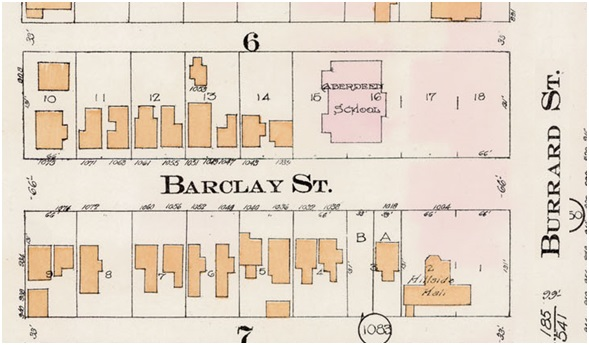 Aberdeen School, detail from Goad's Atlas of Vancouver – 1912 – plate 11 – District Lot 185 – Block 6 – Lots 15 to 18; http://data2.archives.ca/e/e428/e010689052-v8.jpg