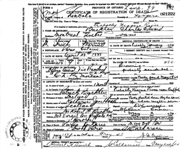 Charles Edward Buckley - death certificate