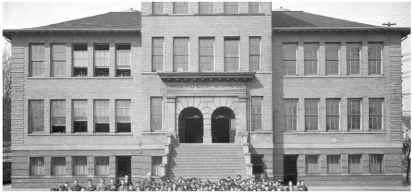 Detail from Vancouver City Archives - Sch N12 - [Group portrait of students and teachers outside] Aberdeen School – 1923 or 1924; http://searcharchives.vancouver.ca/group-portrait-of-students-and-teachers-outside-aberdeen-school.