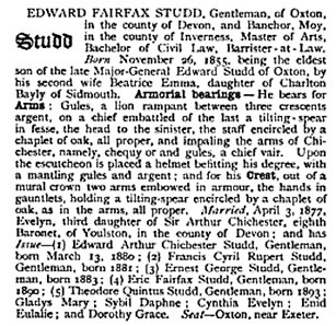 Edward Fairfax Studd, Armorial Families: A Complete Peerage, Baronetage, and Knightage, Part 1, edited by Arthur Charles Fox-Davies; page 945; https://books.google.ca/books?id=KDw6AQAAMAAJ&pg=PA945&lpg=PA945&dq=edward+arthur+chichester+studd&source=bl&ots=Q8bS5G3J9A&sig=QIio1XTR8U08RIwlNPBk7maAXjQ&hl=en&sa=X&ved=0ahUKEwjAm_f8xbPOAhVL-2MKHYnACe4Q6AEIJjAD#v=onepage&q=edward%20arthur%20chichester%20studd&f=false.