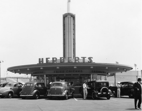 Wayne McAllister's drive-ins in the round, http://restaurant-ingthroughhistory.com/tag/herberts/; http://victualling.files.wordpress.com/2011/08/herberts1.jpg.