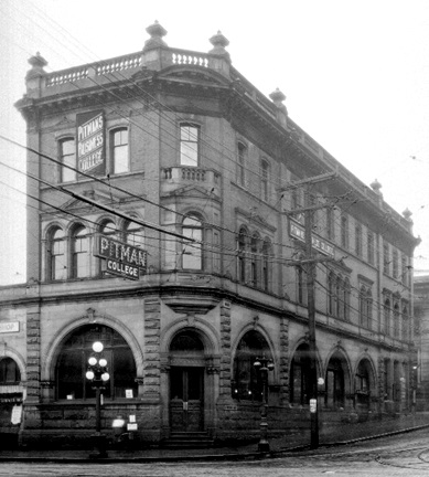 Building at corner of Richards and Hastings Streets - housing the Bank of British Columbia and Pitman Business College - Vancouver City Archives - Bu N69-2 - about 1922; http://searcharchives.vancouver.ca/building-at-corner-of-richards-and-hastings-streets-housing-bank-of-british-columbia-and-pitman-business-college-2