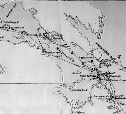 Chart showing the track of the D.S.S. Alert, Hudson's Bay Expedition, 1885, [detail], Department of Marine, Ottawa, 1886, http://www.shadowofthepole.com/images/map1885%20copy.jpeg