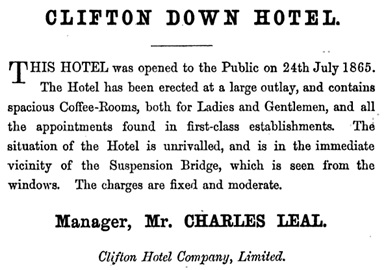 Clifton Down Hotel - advertisement; Black's guide to Norway, ed. by J. Bowden, Black, Adam and Charles, Ltd, 1867, page 13
