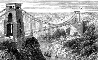 Clifton Suspension Bridge; http://en.wikipedia.org/wiki/Clifton_Suspension_Bridge#mediaviewer/File:Suspension_bridge_at_Clifton.jpg