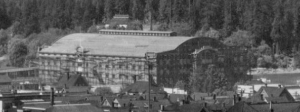 Denman Arena under construction, detail from [Panoramic view of the West End from the Royal Alexandra Apartments at Bute and Comox], PAN P112 - Vancouver City Archives, 1911, http://searcharchives.vancouver.ca/panoramic-view-of-west-end-from-royal-alexandra-apartments-at-bute-and-comox