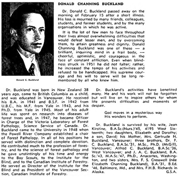 Donald Channing Buckland, obituary, UBC Alumni Chronicle, March 31, 1956, page 34;  https://open.library.ubc.ca/collections/ubcpublications/alumchron/items/1.0224198#p33z0r0f: