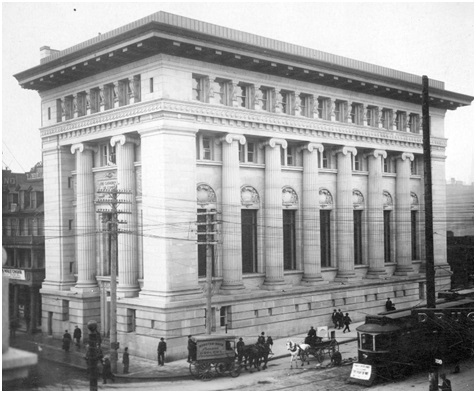 Exterior of the Canadian Bank of Commerce - Corner Granville and Hastings Streets - Vancouver City Archives - Bu P409-1; http://searcharchives.vancouver.ca/exterior-of-canadian-bank-of-commerce-cor-ner-granville-and-hastings-sts-vancouver-b-c