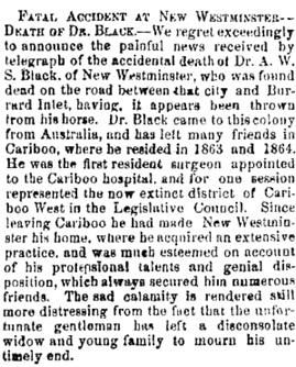 """Fatal Accident at New Westminster: Death of Dr. Black,"" Cariboo Sentinel, April 8, 1871, page 3, http://historicalnewspapers.library.ubc.ca/view/collection/cariboosent/date/1871-04-08#3!black"