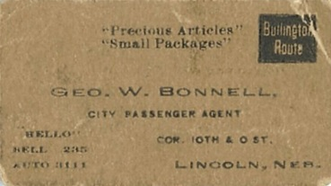 George W. Bonnell, business card, Burlington Route, detail frm George W. Bonnell Railroad Pass, http://www.usgennet.org/usa/ne/topic/railroads/rrpass/rrpass-1.jpg