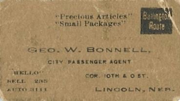 George W. Bonnell, business card, Burlington Route, detail frm George W. Bonnell Railroad Pass, http://www.usgennet.org/usa/ne/topic/railroads/rrpass/rrpass-1.jpg