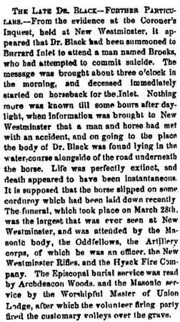 """The Late Dr. Black – Further Particulars,"" Cariboo Sentinal, April 15, 1871, page 2, http://historicalnewspapers.library.ubc.ca/view/collection/cariboosent/date/1871-04-15#2!black"