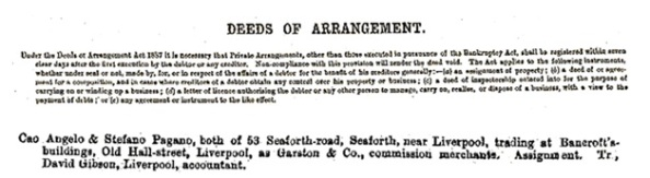Angelo Cao and Stefano Pagano - deed of arrangement; http://newspaperarchive.com/uk/middlesex/london/commercial-gazette/1888/08-15/page-9