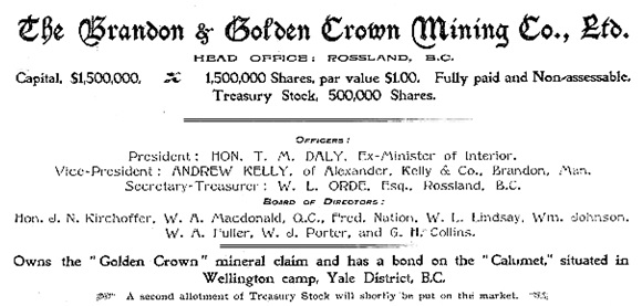 Brandon and Golden Crown Mining Company Ltd., Boundary Creek Times, March 20, 1897, page 2, http://historicalnewspapers.library.ubc.ca/view/collection/boundarycre/date/1897-03-20#2!macdonald