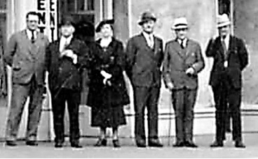 Mr. Black, William Holden, Mrs. Winbigler, Dr. Hugh C. Winbigler, Major J.S. Matthews, Mr. Dean. Detail from [Exterior of the Holden Building (temporary City Hall) - 16 E. Hastings Street], Vancouver City Archives, July 9, 1936, http://searcharchives.vancouver.ca/exterior-of-holden-building-temporary-city-hall-16-e-hastings-street