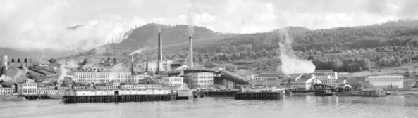 "Detail of Powell River [from S.S. ""Prince George""], Vancouver City Archives, 1941, AM1545-S3-: CVA 586-707; http://searcharchives.vancouver.ca/view-of-powell-river-from-s-s-prince-george"