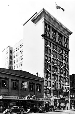 [Exterior of the Holden Building (temporary City Hall) - 16 E. Hastings Street], Vancouver City Archives, July 9, 1936, http://searcharchives.vancouver.ca/exterior-of-holden-building-temporary-city-hall-16-e-hastings-street