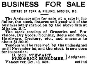 Frederick Buscombe - assigneee - Mission BC; Victoria Daily Colonist, October 19, 1894, page 7; http://archive.org/stream/dailycolonist18941019uvic/18941019#page/n5/mode/1up