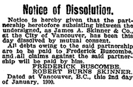 James A. Skinner, notice dissolving partnership, Vancouver Province, January 15, 1900, page 1.