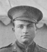 """Lieutenant Robert (""""Bob"""") Frederick Edwin Buscombe, Vancouver City Archives, detail from LP 363 - [Group portrait of] the officers, 1st British Columbia Regiment, Canadian Expeditionary Force; http://searcharchives.vancouver.ca/group-portrait-of-officers-1st-british-columbia-regiment-canadian-expeditionary-force."""