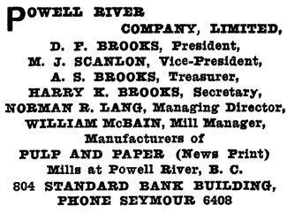 Powell River Company Limited, Henderson's Greater Vancouver City Directory, 1915, page 909