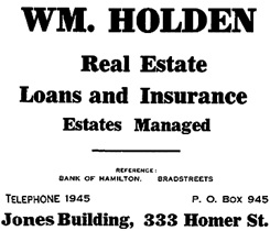 William Holden - Henderson's City of Vancouver Directory - 1908 - page 51