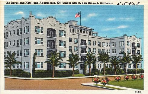 Barcelona Hotel and Apartments [undated post card], 326 Juniper Street, San Diego, California, https://farm8.staticflickr.com/7131/7683985528_54667767fe.jpg