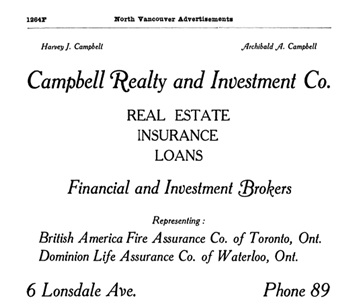 Campbell Realty and Investment Co., Henderson's City of Vancouver and North Vancouver Directory, 1910, page 1264F