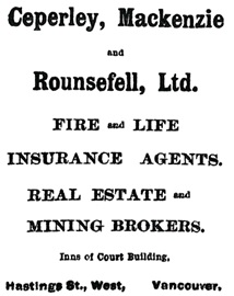 Ceperley, Mackenzie and Rounsefell, Ltd., advertisement, Vancouver Province, June 4, 1898, page 1.