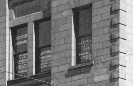 Ceperley Rounsefell and Company offices, detail from M-11-29 - The Molson's Bank Building [corner of Seymour & Hastings], Vancouver City Archives, http://searcharchives.vancouver.ca/molsons-bank-building-corner-of-seymour-hastings.