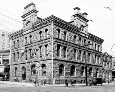 Bu P59 - [Exterior of Dominion of Canada Assay Office at 501 Granville Street]; June 29, 1924 (Creation), http://searcharchives.vancouver.ca/exterior-of-dominion-of-canada-assay-office-at-501-granville-street [Former Post Office building at the corner of Granville Street and Pender Street.]
