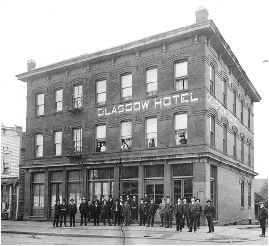 [Exterior of Glasgow Hotel - 501 Westminster Avenue (Main Street)], about 1891; Vancouver City Archives, Hot P84, http://searcharchives.vancouver.ca/exterior-of-glasgow-hotel-501-westminster-avenue-main-street.