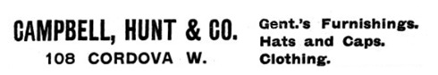 Campbell Hunt and Co - Henderson's City of Vancouver Directory, 1906, page 261