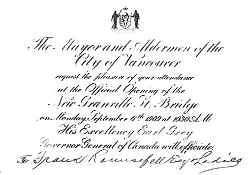 Invitation to attend official opening of new Granville Street bridge, September 6, 1909, Vancouver City Archives, A.M. 0054.013,04001.