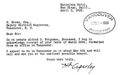 Letter from H.T. Ceperley to H. Brown, Deputy District Registrar, Vancouver, B.C., April 2, 1928; https://familysearch.org/pal:/MM9.3.1/TH-1942-31813-2933-23?cc=2014768&wc=M69N-CP8:332530701,332530502,332567801.
