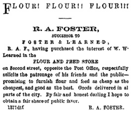 R.A. Foster advertisement, Winona Daily Republican, July 05, 1864, page 4, http://digital.olivesoftware.com/Default/Skins/WinonaA/Client.asp?skin=WinonaA&AW&AW=1417369527310&AppName=2