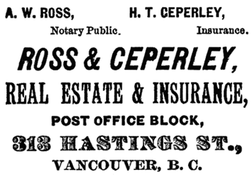 Ross and Ceperley, Henderson's City of Vancouver Directory, 1890, page 190.