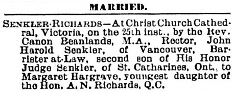 Senkler - Richards marriage notice - Victoria Daily Colonist - June 26 1895 - page 8; http://archive.org/stream/dailycolonist18950626uvic/18950626#page/n7/mode/1up