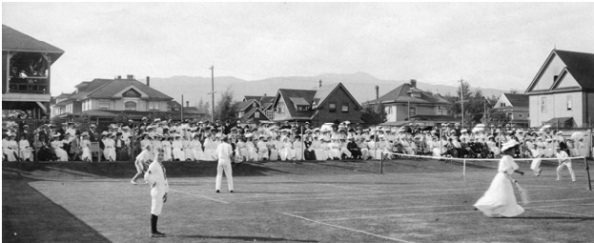 Vancouver Lawn Tennis Club at 940 Denman Street - about 1905; Vancouver City Archives - Sp P77.1; http://searcharchives.vancouver.ca/tournament-in-progress-at-vancouver-lawn-tennis-club-at-940-denman-street.