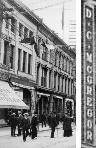 D C McGregor - office and sign; Detail from CVA 2 - 142 - [600 Block West] Hastings Street looking East from Granville Street, Vancouver, B.C., about 1902; http://searcharchives.vancouver.ca/600-block-west-hastings-street-looking-east-from-granville-street-vancouver-b-c